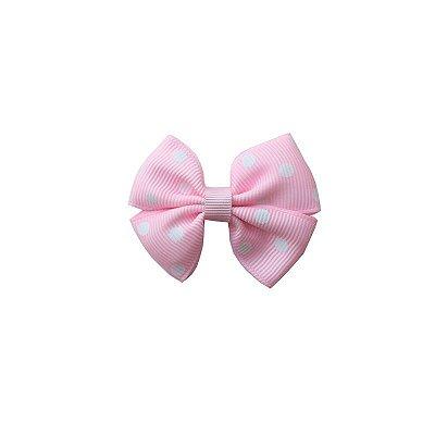 Laço Pequeno Rosa Claro com Poá Branco - Paris Petit