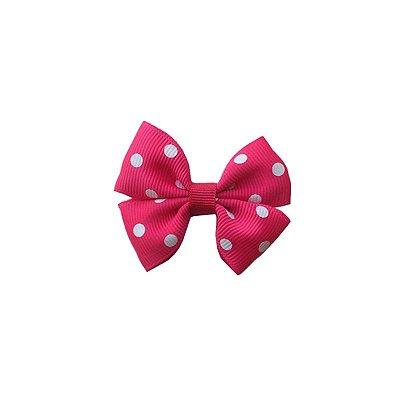 Laço Pequeno Rosa Escuro com Poá Branco - Paris Petit
