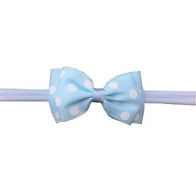 Faixa de Cabelo para Bebê Azul Claro com Poá Branco