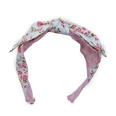 Tiara de Tecido Branca com Flores - Dupla Face