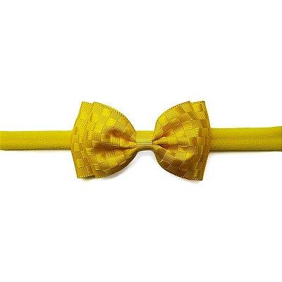 Faixa de Cabelo para Bebê Amarelo Quadriculado