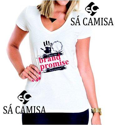 Camisa Feminina Baby Look - Gola V -Estampa Evangelica