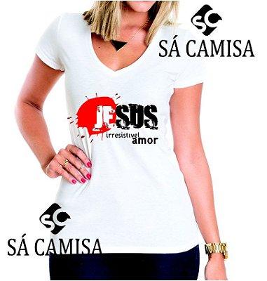 f93615b533afd Camisa Feminina Baby Look - Gola V -Estampa Evangelica