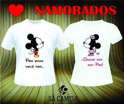 kit com 2 Camisas Personalizadas-Namorados Minnie e Mickey