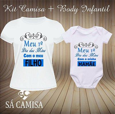 Kit Camisa Dia das Mães Camisa + Body Infantil