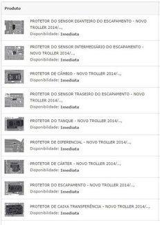 KIT COMPLETO DE PROTETORES INFERIORES COM 9 PEÇAS - NOVO TROLLER 2014/..,