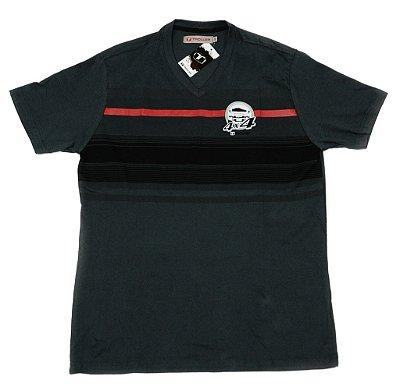 Camiseta Masculina Striped 4x4 Troller - Cinza escuro