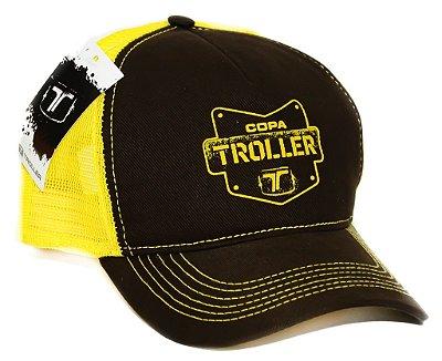 """Boné Oficial """"Team Troller"""" - Marom e amarelo"""