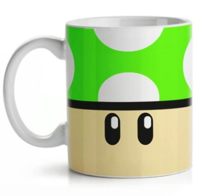 Caneca Cogumelo Verde 1 UP - Super Mario Bros