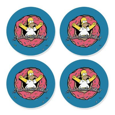 Porta-Copos Conjunto 4 Peças Donuts Homer Simpson