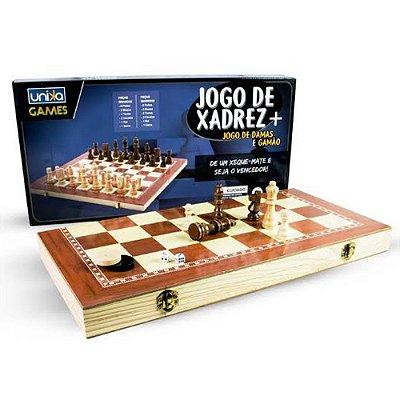 Jogo 3 em 1 Tamanho Grande - Xadrez, Damas e Gamão