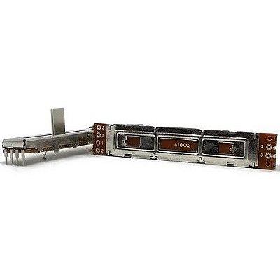 Potenciômetro Deslizante Slide Stereo Percurso 60mm 10KA X 2