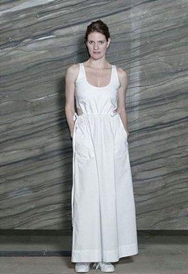 Vestido longo de algodão com elastano