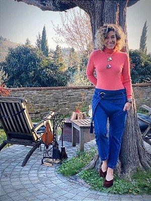 calça jeans cinto com fivela stonada