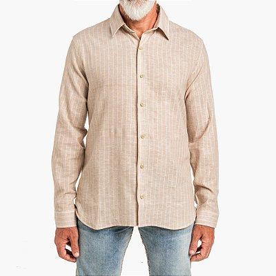 Camisa Won Linho Listrada Areia