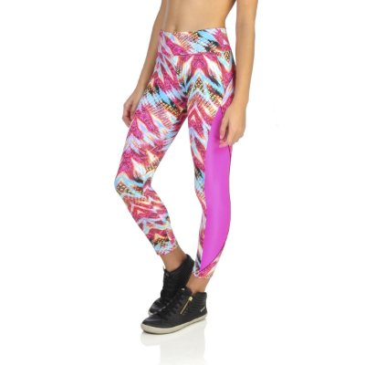 Calça legging Agridoce estampada recorte glow rosa