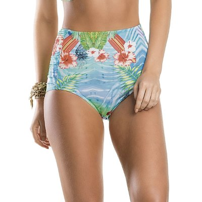 Calcinha hot pants de biquíni estampa tropical Agridoce