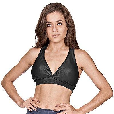 Top fitness Agridoce glow cirrê preto c/ bojo