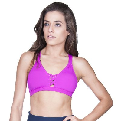 Top fitness Agridoce tiras com bojo rosa