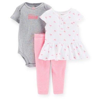 Conjunto rosa com body, camiseta e calça
