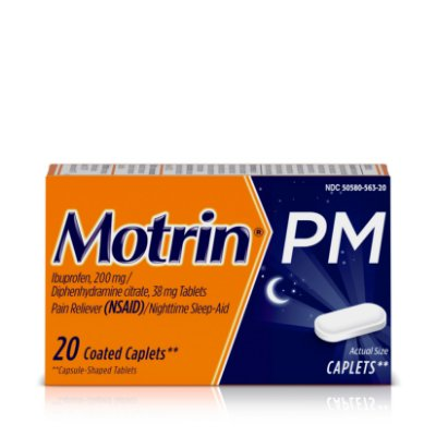 Motrin PM Caplets, Ibuprofen, Relief from Minor Aches and Pains, Nighttime