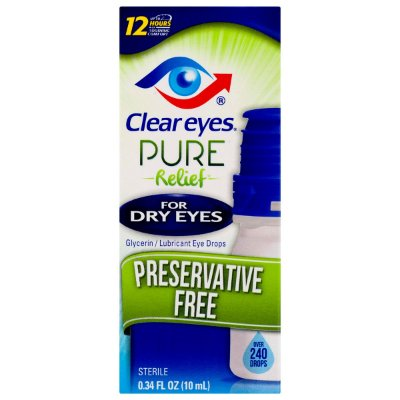 Clear Eyes Pure Relief Preservative Free Eye Drops For Dry Eyes