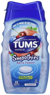 Tums Smoothies Antacid Chewable Tablets, Berry Fusion