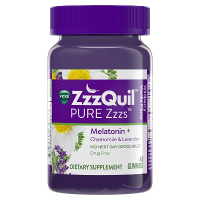 Vicks ZzzQuil Melatonin Natural Flavor Sleep Aid Gummies with Chamomile, Lavender, & Valerian Root