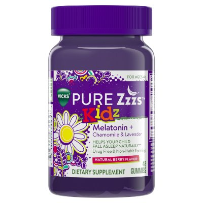 Vicks Pure Zzzs Kidz Melatonin Lavender & Chamomile Sleep Aid Gummies for Kids & Children, Natural Berry Flavor
