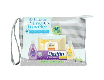 Johnson's Tiny Traveler Baby Gift Set, Bath & Skin Essentials, 5 itens
