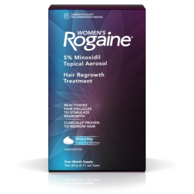 Women's Rogaine 5% Minoxidil Foam for Hair Regrowth, 4-Month Supply