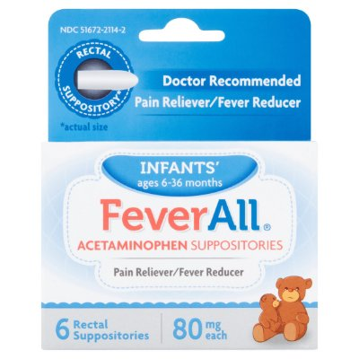 Fever All Acetaminophen Suppositories Infants' Ages 6-36 Months 6UN