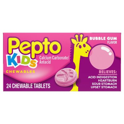 Pepto Kids Bubblegum Flavor Chewable Tablets 24UN