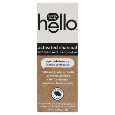 Hello Activated Charcoal Fluoride Whitening Toothpaste, With Fresh Mint and Coconut Oil