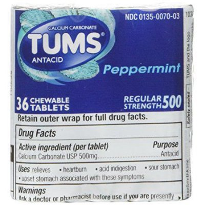Tums Regular Strength Peppermint Tablets