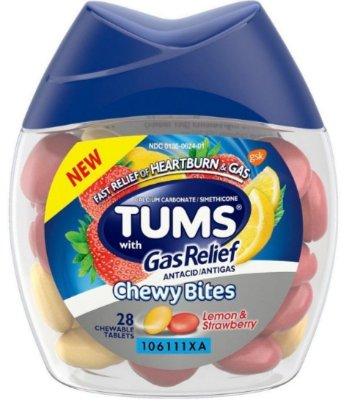 Tums Chewy Bites with Gas Relief, Lemon & Strawberry