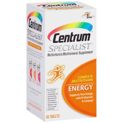 Centrum Specialist Energy Adult Multivitamin / Multimineral Supplement Tablet, Vitamin D3, C, B-Vitamins and Ginseng