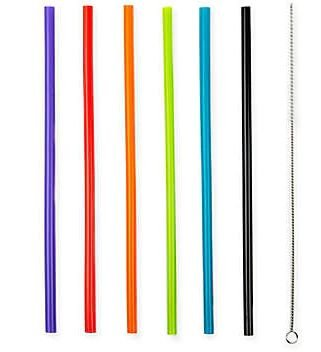 Manna Multicolor Silicone Straws and Straw Brush Set