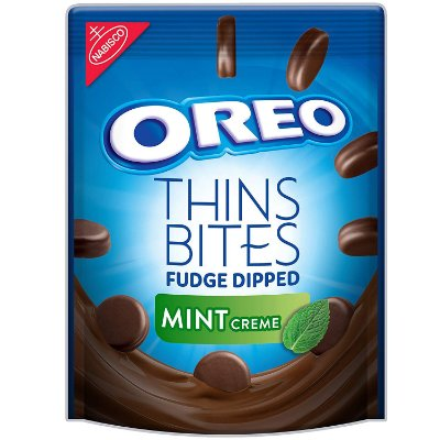 Nabisco Oreo Thins Bites Fudge Dipped Chocolate Sandwich Cookies Mint Flavored Creme
