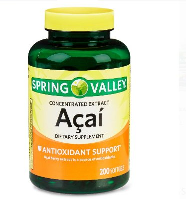 Spring Valley Acai Extract Softgels, 50 mg