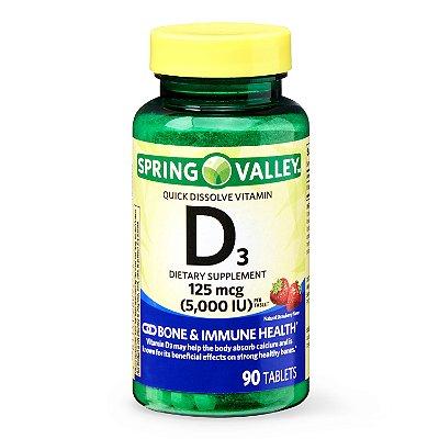 Spring Valley Vitamin D3 Tablets 125 mcg (5000 IU)