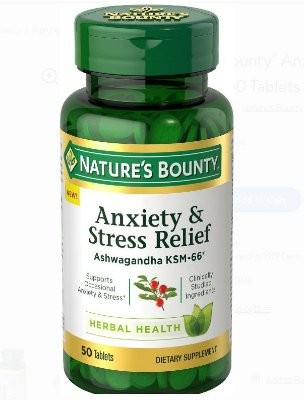 Nature's Bounty Anxiety & Stress Relief Ashwagandha KSM-66*