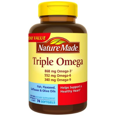 Nature Made Triple Omega 3-6-9 Two a Day Softgels