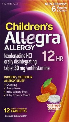 Allegra Children's Allergy 12 Hour Tablets Orange Cream Flavor