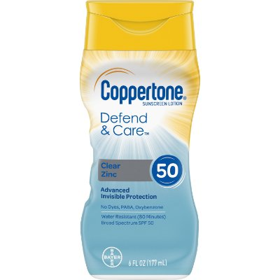 Coppertone Defend & Care Clear Zinc Sunscreen Lotion SPF 50