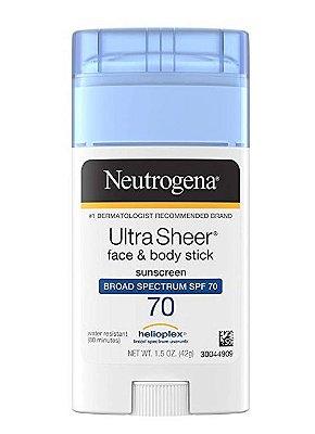 Neutrogena Ultra Sheer Sunscreen, Face & Body Stick, Broad Spectrum SPF 70
