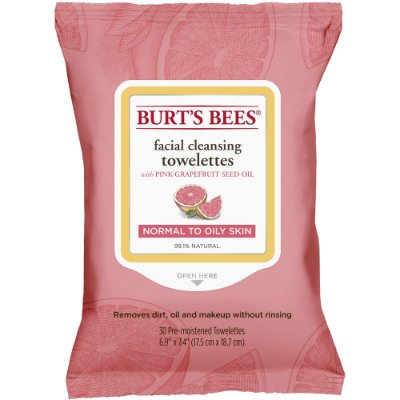 Burt's Bees Facial Cleansing Towelettes for Normal to Oily Skin, Pink Grapefruit