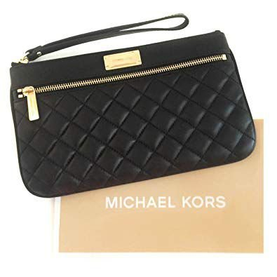 Michael Kors Sophie Quilt Large Merlot Leather and Brass Hardware Clutch