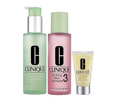 Clinique 3-Step Skin Care System For Skin Types 3, 4 Combination Oily to Oily Skins - Edição Limitada