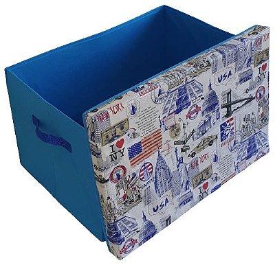 Caixa Grande Azul - Baú Guarda Objetos